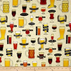 In Doubt, Drink Stout Craft Beer Allover Light Wheat from @fabricdotcom  Designed by Alicia Jacobs Dujets of Studio 8 for Quilting Treasures, this cotton print fabric features popular beers and is perfect for quilting, apparel and home decor accents. Colors include black, pale yellow, white, golden orange, rust, yellow, dark cream, green and shades of brown.