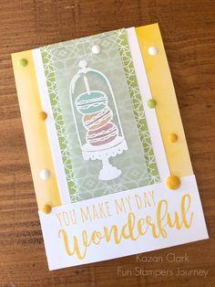 Fun Stampers Journey Friendship card. Let's Eat Cake stamp set (SS-0555). #Funstampersjourney #FSJ #kazanclark