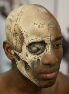 A very detailed exposed skeleton make up. The combination of nude shades and black lining help make the contours of the face look more vivid and recognizable.