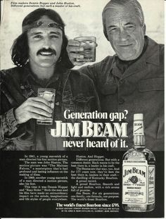Jim Beam Adverts with Burt Bacharach, Ella Fitzgerald, Elliott Gould, Dennis Hopper, Sean Connery and Henry Mancini and More. Celebrity Advertising, Retro Advertising, Retro Ads, Vintage Advertisements, Vintage Ads, Vintage Posters, Jim Beam, Generation Gap, Dennis Hopper