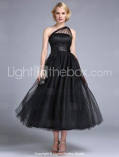 TS Couture® Prom / Formal Evening / Wedding Party Dress - 1950s / Vintage Inspired Plus Size / Petite A-line / Princess One Shoulder Ankle-length 2016 - $99.99
