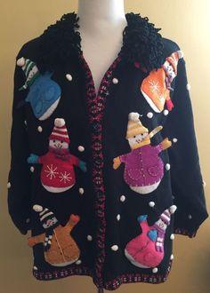 DressBarn Embellished Christmas Cardigan Sweater Chenille Fringe Trim Plus 22/24 #DressBarn #Cardigan
