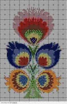 Just my craft: Haft łowicki - w krzyżykach łodyżka… Cross Stitching, Cross Stitch Embroidery, Hand Embroidery, Blackwork Patterns, Embroidery Patterns, Cross Stitch Designs, Cross Stitch Patterns, Cross Stitch Pillow, Vintage Cross Stitches