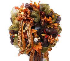 Fall Deco Mesh Glitzy Wreath Fall Bird Leaves Berries  by HearttoHeartNC