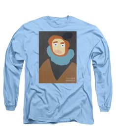 Patrick Francis Designer Long Sleeve Carolina Blue T-Shirt featuring the painting Portrait Of Maria Anna - After Diego Velazquez by Patrick Francis
