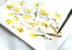Yellow flower painting, paint-with-straw-apieceofrainbow (12)