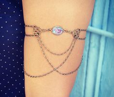 pink fire opal and filigree armlet, upper arm chain, body chain, unique jewelry, turquoise jewelry