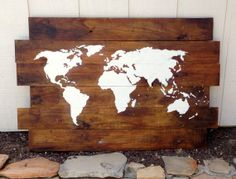 Made to Order 50X32 World Map Wood Sign.  I think this would be awesome hanging behind the couch !!!
