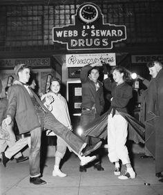 Dancing at 3am, waiting for the Rose Bowl game, Pasadena, January 2, 1956