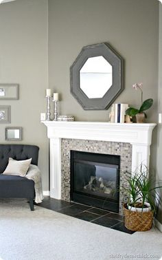 corner fireplace ideas (fireplace ideas) Tags: corner fireplace DIY, corner fireplace furniture arrangement, corner fireplace decorating, corner fireplace makeover fireplace ideas with tv Fireplace Redo, Fireplace Remodel, Fireplace Design, Fireplace Ideas, Mantle Ideas, Tiled Fireplace, Bedroom Fireplace, Fireplace Furniture, White Mantle Fireplace