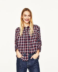 Image 2 of CHECKED SHIRT WITH BEADED EMBROIDERY from Zara