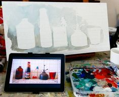 My painting process using my reliable tablet. Acrylic on board. Painting Process, Board, Planks