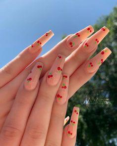 Acrylic Nails Coffin Short, Simple Acrylic Nails, Summer Acrylic Nails, Acrylic Nail Art, Coffin Nails, Summer Nails, Spring Nails, Stiletto Nails, Clear Acrylic
