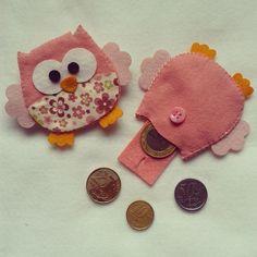 Porta moeda 7cm coruja rosa chá