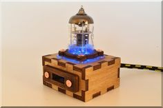 Handmade Wooden BLUE Pentode Radio Tube USB Cable Extention with Durable Knit…