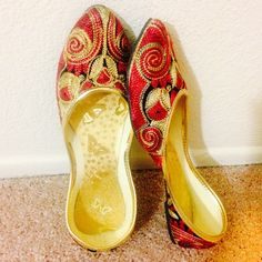 Getting Married Sale | Golden Embroidered Shoes New Collection! Medley of beautiful red curvy lines and ivory color. Complete thread work. Detailed embroidery all over. Tend to expand a bit after 3-4 wears.Super Comfy!  In India, we call these 'jutti'. India collection. ✅ Price firm unless bundled ✅ 15% off bundles  No Paypal  No Trades Shoes