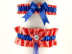 set bridal garter red and blue garter in by FashionForWomen