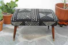 Mid Century Footstool with Black & White African Mudcloth Fabric Bambara Bogolanfini Mud cloth MCM Foot Stool Ottoman Upcycled Bench