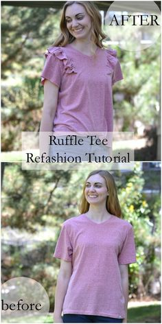 Refashions are so fan and making sewing apparel so much faster. I took a frumpy tee shirt with no shape, shortened the sleeves and hem, and added ruffles to the shoulders. The ruffles bring the shoulders in which make the shoulders better fitting. This te