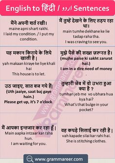 Hindi to English Sentences Translation Examples Used in Daily Life