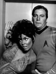 "Publicity photo for ""Whom Gods Destroy"" (Season Episode 14 [aired January with Yvonne Craig as 'Marta', the green-skinned Orion slave girl & William Shatner as 'Captain Kirk' in Star Trek NBC) Star Trek 1966, Star Trek Tv, Star Trek Series, Star Trek Original Series, Star Wars, Yvonne Craig, William Shatner, Science Fiction, Hollywood Stars"