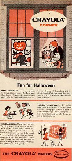 Vintage Crayola Advertisement with DIY/Halloween Craft Ideas