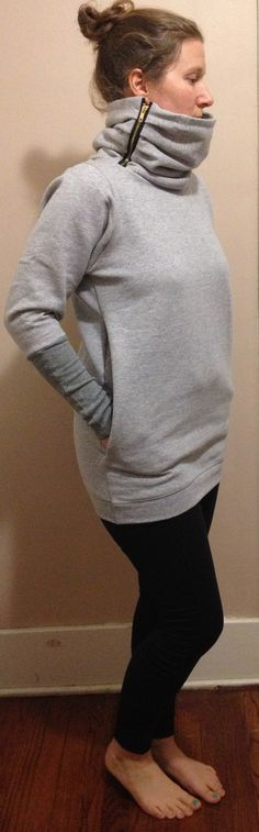 chunky zip neck hoodie made from men's Hanes sweatshirt. zipped neck, long arms cuffs, really deep pockets.