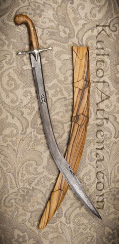 Damascus Turkish Kilij with all-wooden scabbard and straight guard. I require this.
