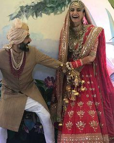 He was going to run But it's too late now . Wedding Lehnga, Desi Wedding, Bridal Lehenga, Wedding Pics, Wedding Dress, Sonam Kapoor Wedding, Bollywood Wedding, Big Fat Indian Wedding, Indian Bridal