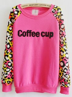 Rose Red Contrast Leopard Long Sleeve Coffee cup Sweatshirt US$21.97