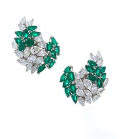 David Webb New York - Pear shaped emeralds, marquise-cut and pear shaped diamonds, 18K gold, and platinum