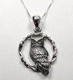 STERLING SILVER SCREECH OWL HOOT BIRD ON A RING WILDLIFE ANIMAL PENDANT NECKLACE #Pendant