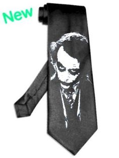 Joker heath ledger batman tie satin silk BLACK necktie Silver Image