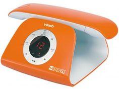 Telefone Digital Sem Fio VTech 5 Ramais - c/ Identificador de Chamadas Retro Phone - O