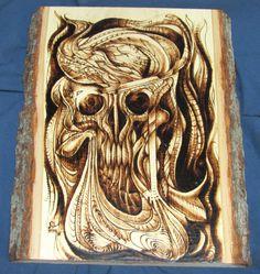 Sombre Transfiguration  crâne bois pyrogravure par BrianImlayArt