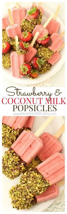 These healthy Strawberry Coconut Milk Popsicles are light, bright and bursting with flavor. You'll want to have these in your life!! @theharvestkitchen.com