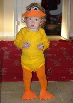 Baby duck costume u2026  sc 1 st  Pinterest & We bought Lolau0027s duck costume it came with the striped tights but ...