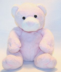 """TY PLUFFIES 2003 PLUSH 10"""" TEDDY BEAR Pudder PASTEL PINK TyLux Baby BUDDY #Ty"""