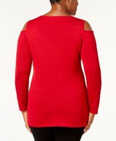 Belldini Plus Size Embellished Cold-Shoulder Sweater - Black 3X