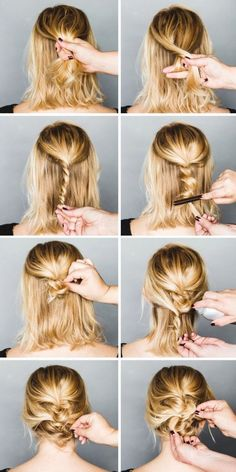 MESSY UP-DO for shoulder-length hair                                                                                                                                                                                 More