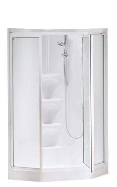 MAAX 6-ft H x 3-ft W x 3-ft L MAAX White Neo-Angle 3-Piece Corner ...