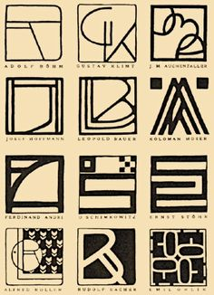 Monograms from the Vienna Secessionists, as featured in Meggs' History of Graphic Design. Design Typography, Logo Design, Graphic Design, Typography Inspiration, Ad Design, Koloman Moser, Vienna Secession, Design Graphique, Monogram Design