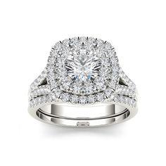De Couer 14k Gold 2ct TDW White Diamond Halo Bridal Set (7.5 - White Gold), Women's