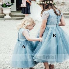 Blue Cute A-Line Crew Tea-Length Tulle Flower Girl Dress With Belt, Top Lace Covered Button Flower Girl Dresses, Blue Cute A-Line Crew Tea-Length Tulle Flower Girl Dress With Belt, Top Lace Covered Button Flower Girl Dresses, - All About Hair Sweet 15 Dresses, Tulle Flower Girl, Wedding Flower Girl Dresses, Tea Length Wedding Dress, Flower Dresses, Tutu Dresses, Wedding Flowers, Toddler Flower Girl Dresses, Little Girl Dresses