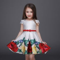 2016 Princess Girls Floral Dresses Summer Baby girl Rose Flower Pattern Dress Kids Children Party dresses for girls Vestidos #>=#>=#>=#>=#> Click on the pin to check out discount price, color, size, shipping, etc. Save and like it!