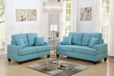 "2-Pc Sofa & Love Seat Set (F6502)  Dimensions:  Sofa - 72""L x 35""W x 37""H;  Loveseat - 56""L x 35""W x 37""H  Materials: Polyfiber  Color: Blue  Weight: 180.4 lb.  Features: Plush Pillow Seat & Back Cushions w/Accent Tufting; Square Structure"