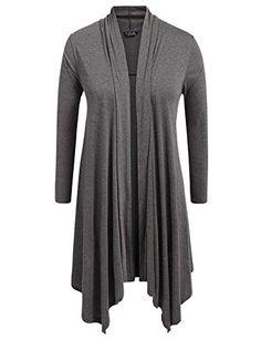 29af5b535fc IN VOLAND Plus Size Long Sleeve Waterfall Asymmetric Drape Open Cardigans  Womens Knit Flowy Fall Sweater