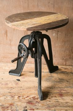 Industrial Crank Cafe Table with Black Metal Legs