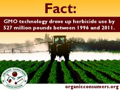 In a paper published in the peer-reviewed Environmental Sciences Europe, Chuck Benbrook, research professor at Washington State University's Center for Sustaining Agriculture and Natural Resources, found that Monsanto's Roundup Ready #GMO technology, which dominates corn, soy, and cotton farming, has called forth a veritable monsoon of herbicides, both in terms of higher application rates for Roundup, and, in recent years, growing use of other, more-toxic herbicides.