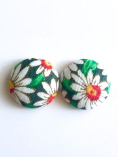 Daisy flower Fabric Button Earrings nickel free stud by Rubenabird